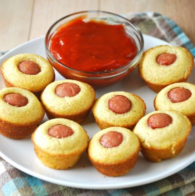 Mini Corn Dog Muffins Recipe. Tried this with Gluten Free Cornbread and Gluten Free Hot Dogs. Served with ketchup and Mark loves them!