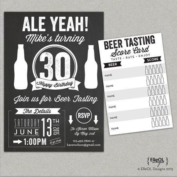 Chalkboard beer tasting birthday party invitation  Ale by ElleOL