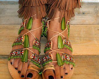 Vastbinden Gladiator sandalen / lederen sandalen / door magosisters