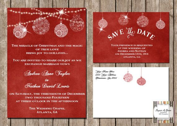 Hey, I found this really awesome Etsy listing at https://www.etsy.com/listing/209494352/christmas-wedding-invitation-suite-red