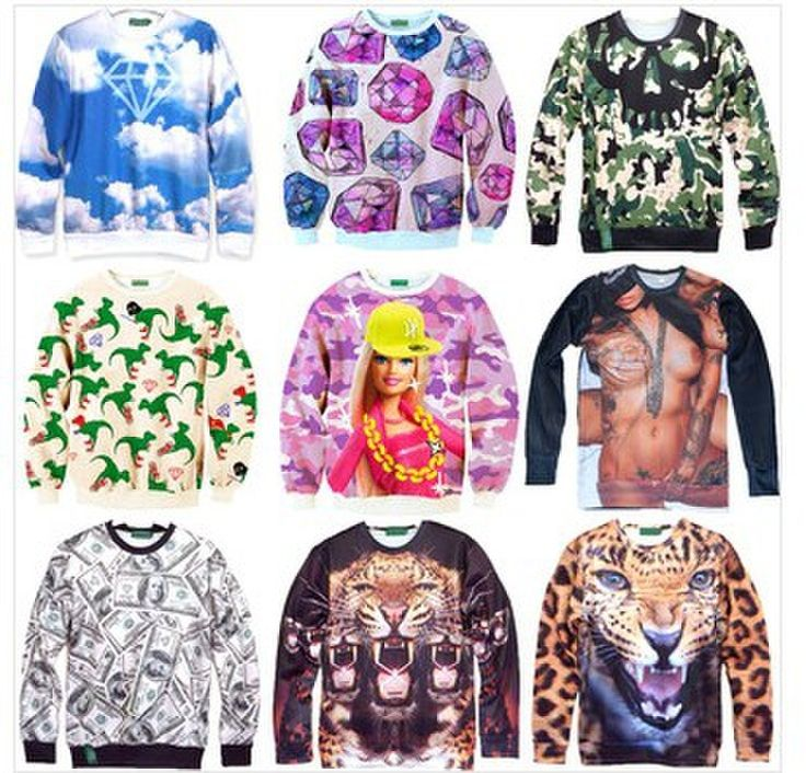 Женская мода / Мужчины Harajuku печати панда / кошка / тигровые Пуловеры животное 3D Свитера мультфильм галактика футболка толстовки лучших плюс размер 578,20