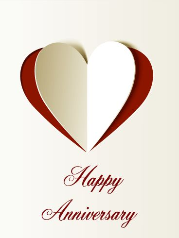 Lovely Happy Anniversary Card. Some couples don't need to say much to show how much they love each other. This card is for those who prefer simple anniversary wishes. The heart on the card will deliver your strong love to him. Deliver your heart as an anniversary celebration!