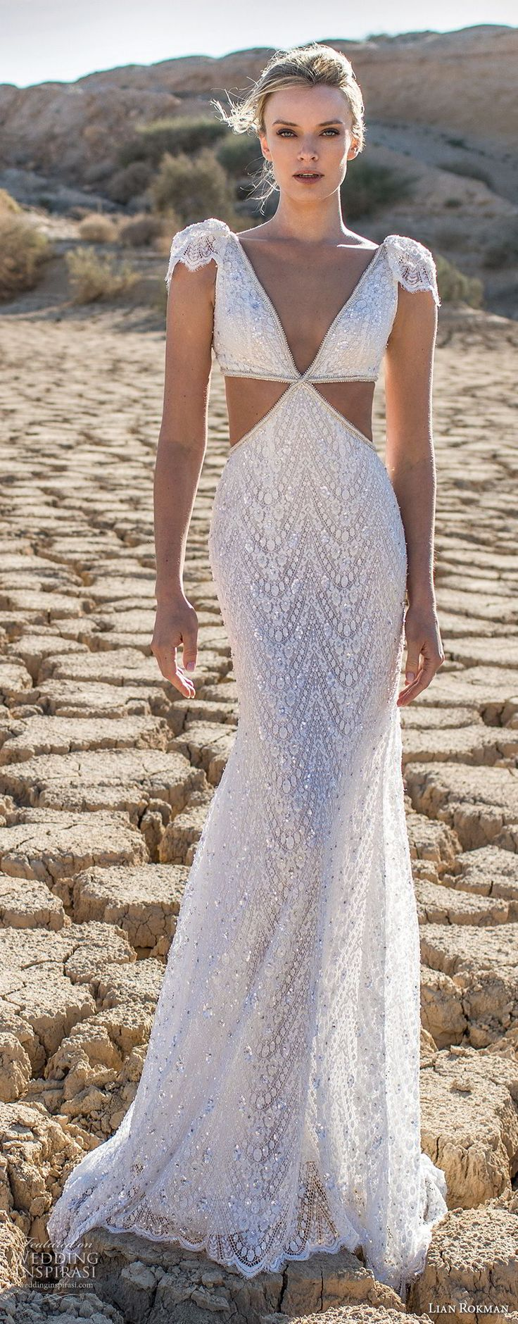 lian rokman 2017 bridal cap sleeves deep v neck full embellishment elegant fit and flare wedding dress sweep train (agate) mv