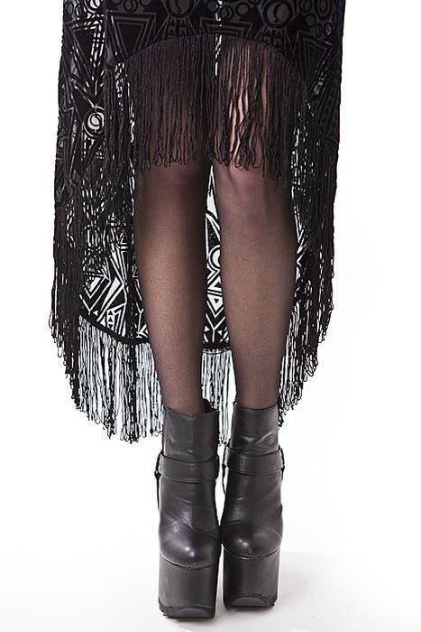Close up of Witch Burn Dress. fringes, Burn out fabric. http://www.shock.se/Klaeder/Witch-Burn-dress.htm