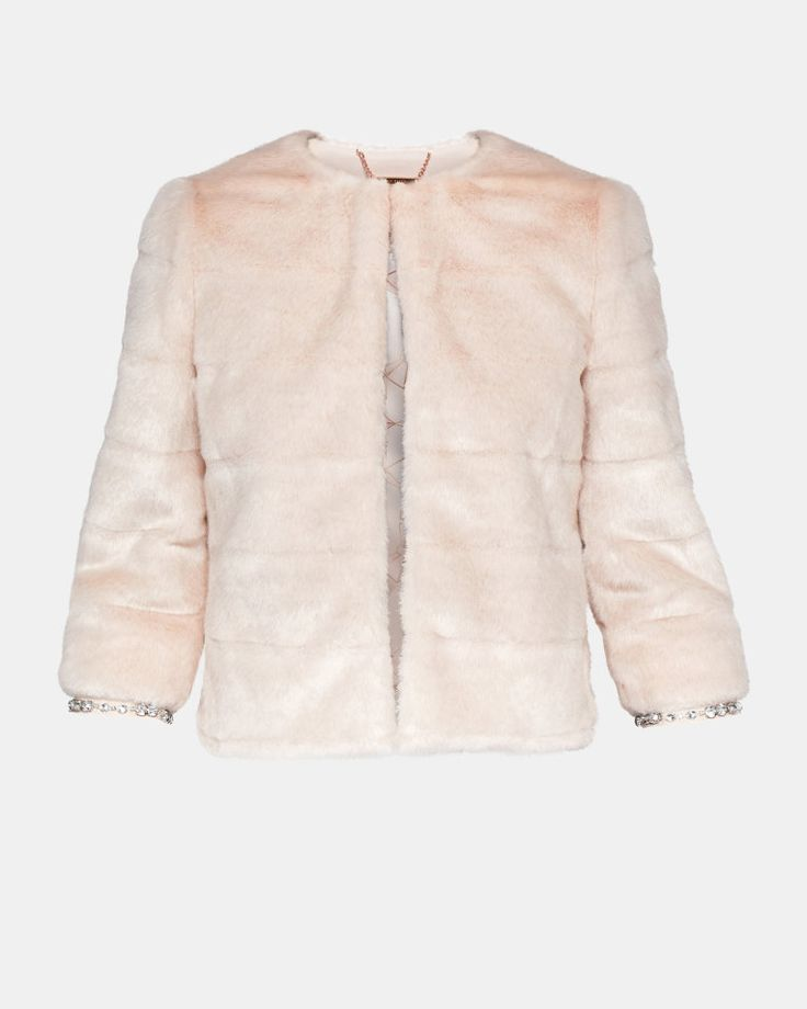 Cropped faux fur jacket - Pale Pink | Jackets and Coats | Ted Baker UK