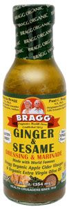 Braggs ginger and sesame- Best choice for gluten free asian dressing-- non gmo, no soybean oil (only virgin olive oil) and health benefits of apple cider vinegar.  2TBS= only 90 cal!, 9g fat, 3g carbs (0fiber, 2gsugar) 0protein