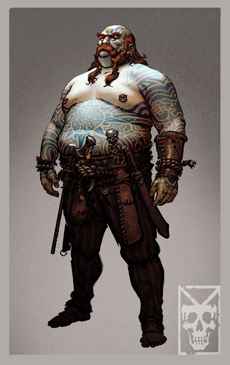 Gurganus, the Butcher of Drakkenhall fat brawler tattoo human. Nick the pirate brawler