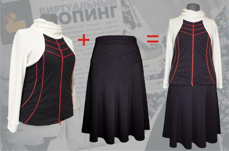 68$ Cтильный костюм в спортивном стиле для полных женщин с молниями чёрного цвета Артикул 591, р50-64 Женские костюмы большие размеры  Женские костюмы с юбкой большие размеры