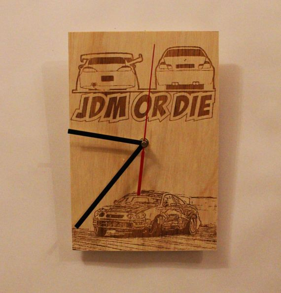 Check out this item in my Etsy shop https://www.etsy.com/listing/515686961/wooden-wall-clock-toyota-celica-jdm-or