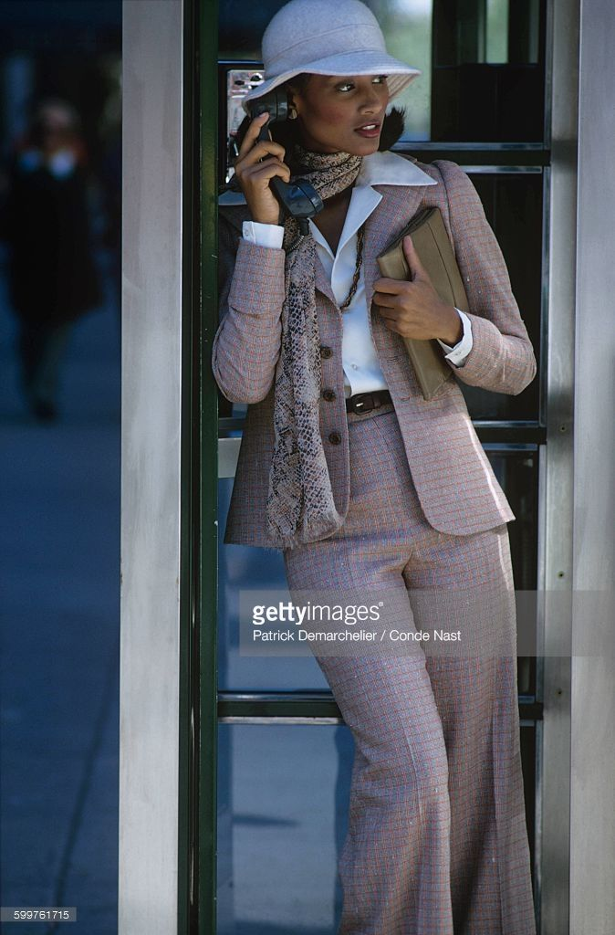 News Photo : Model Beverly Johnson in a phone booth with the...