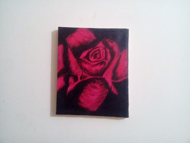 Red Rose/Gulab Canvas acrylic painting