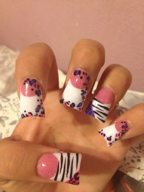 Artificial Nails | flared nails nail art nails zebra cheetah