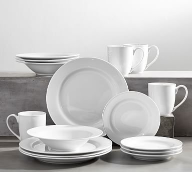 Great White Traditional Dinnerware 16 Piece Set With Soup (Dinner, Salad, Soup, Mug)