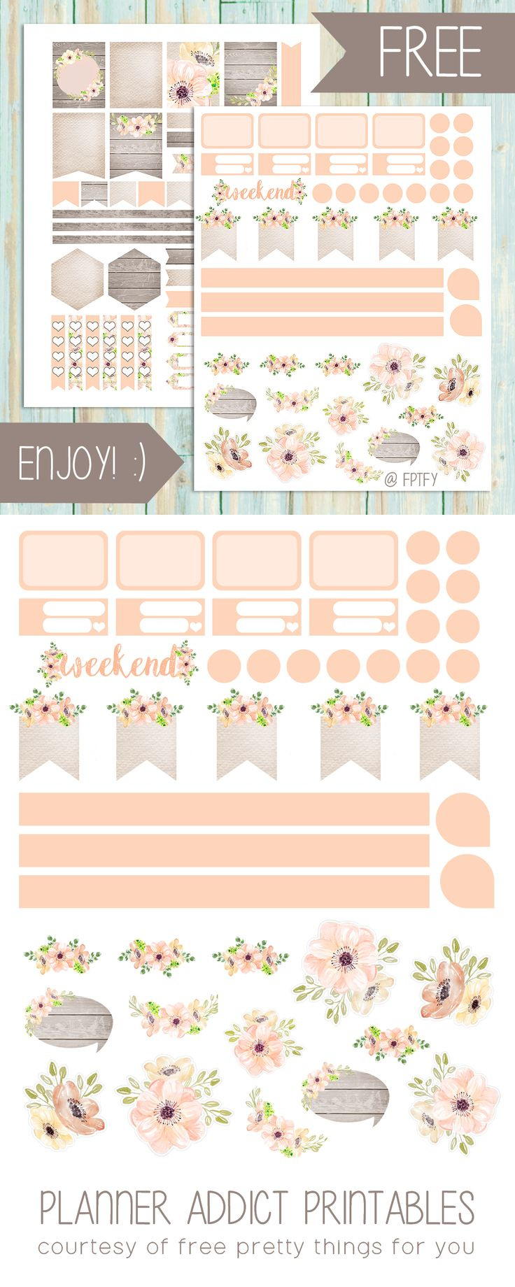 Free Planner Printables: Anemone Blush - Free Pretty Things For You {newsletter subscription required}