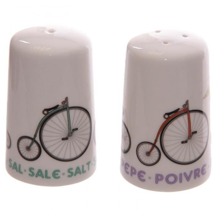 Porcelánová solnička & pepřenka s motivem kola #kolo #keramika #kuchyne #kitchen #accessories #cycling #giftware