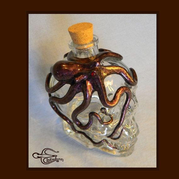 13th Skull Decanter Octopus Sculpture on Crystal Head by Elstwhen, $500.00