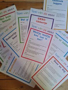 Een leuk idee om te integreren in de klas: elke week wordt een spel van de week verkozen. Dat spelletje wordt enkele keren gespeeld in die week en daarna staat een ander spel centraal.