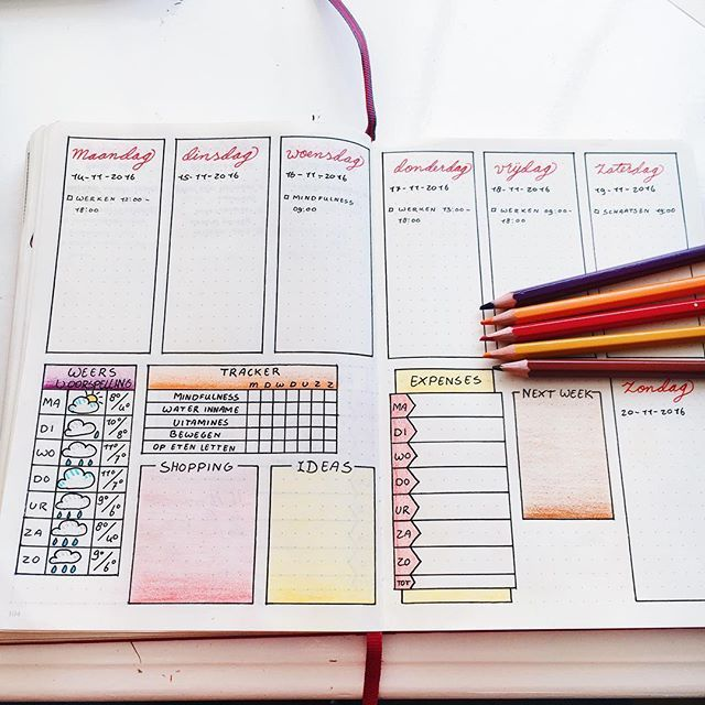My weekly spread for upcoming week still using fall colors ❤️ I'm loving this layout. ••••••••••••••••••••••••••••••••••••••••••••••••• #bulletjournal #bulletjournaljunkies #bulletjournallove #weeklyspread #fallcolors #coloredpencils #fineliner #planning #organized