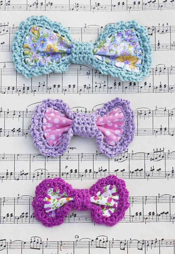 Crochet Edge Bow - Tutorial ❥ 4U // hf