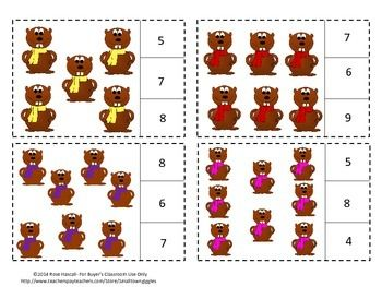 Groundhog Day: Counting Groundhogs 1 to 20, Count and Clip Cards, Autism, Preschool, Kindergarten, Special Education. These cards focus on Common Core math skills of counting to 20. Students will count groundhogs and clip a clothes pin on the correct number.