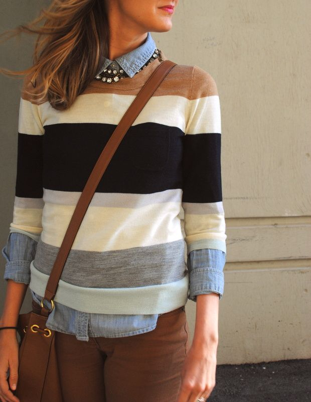 See Jane.: Sweater Weather - Grey, cream, black, and camel striped sweater layered with a button up shirt - love this preppy look!