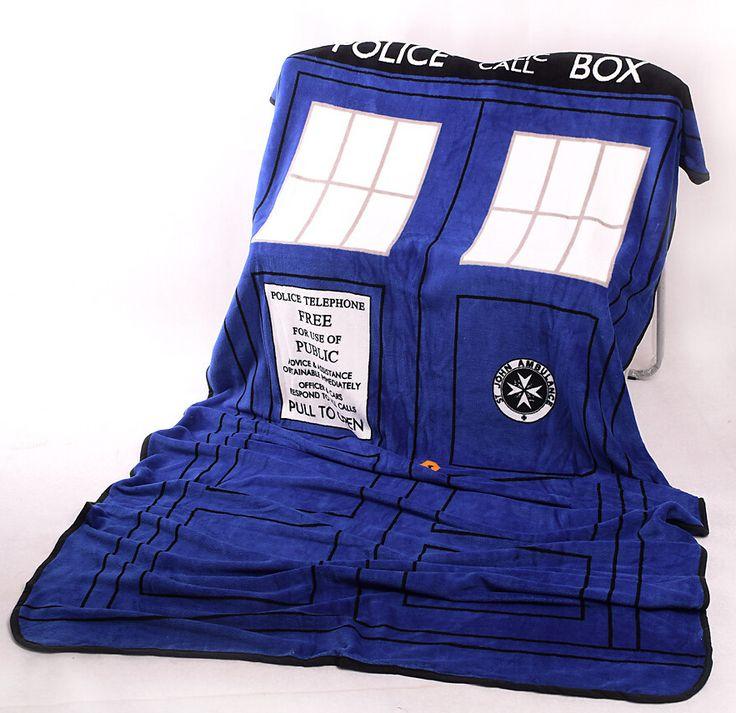 Arts Die Cosplay TARDIS Dekens Coral Fleece Politie Box Cosplay Tapijt Gooi Dekens Blauw Laken 127*226 cm gratis Verzending