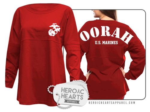 Featured here is our U.S. Marines Spirit Jersey!  This oversized jersey is perfect to show your support for the U.S. Marines and/or your Marine! This oversized fit pullover is constructed of 6.6 oz; 100% cotton jersey. Includes double athletic stripes on the sleeves.  Our spirit jerseys are garment-dyed for a vintage feel and a roomy fit.   These pullovers run large, so we recommend a size down.  Customize this item even more by adding a custom name on it. Please make sure you double che...