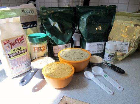 Protein Powder Mix   I would take out the pb2 (added sugar) and the stevia (more sugar) but I like it