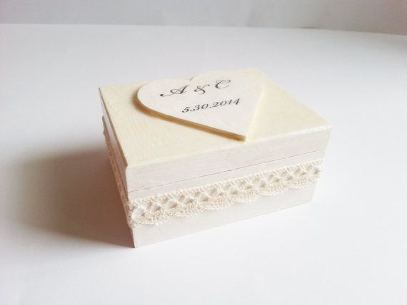 Wedding rings box/engagement ring box, wedding pillow cotton lace shabby chic white creme custom