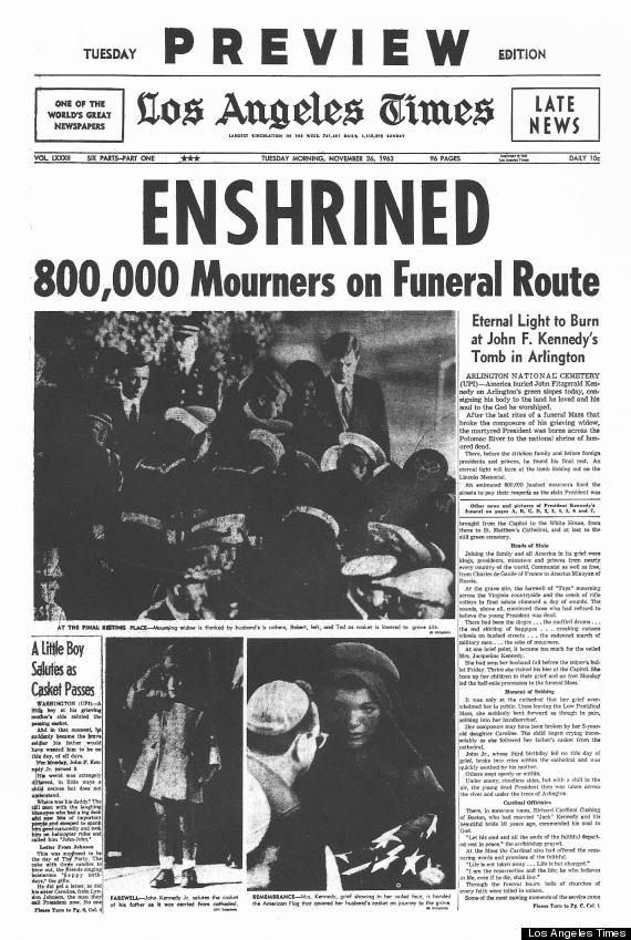 Funeral for JFK 11/26/63. Headline from the LA Times. http://www.thefuneralsource.org/Funerals-Presidents.html #Kennedy #JFK