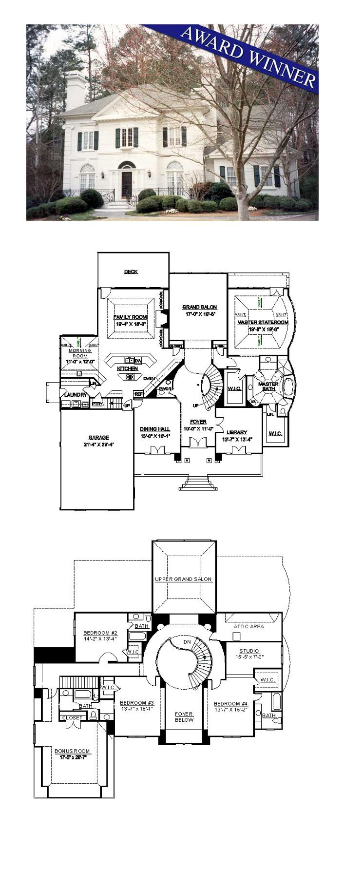Greek revival house plan 98252 total living area 4364 for One story greek revival house plans