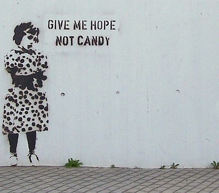 stencil art - give me hope not candy
