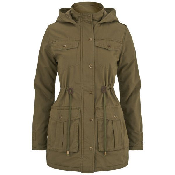 Brave Soul Women's Dallas Parka - Khaki featuring polyvore, fashion, clothing, outerwear, coats, jackets, khaki, padded parka, khaki coat, khaki parka, funnel neck coat and lined parka