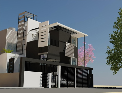 Mary's Residence - Evening view of Front Elevation for Independent Bungalow by Ashwin Architects in Bangalore.    Call (+91)-(80)-26612520 for more information or visit http://www.ashwinarchitects.com