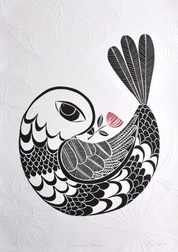 Annie Smits Sandano, <i>Pohutukawa Peace Dove</i>, woodcut with embossing on 700 x 500 mm paper, from an edition of 50, 2012. NZ$470 incl GST.