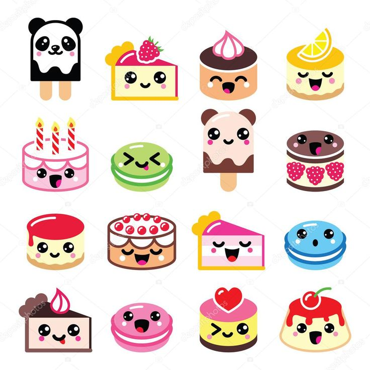 Cute Kawaii postre - torta, galletas de almendra, los iconos de helado —  Vector