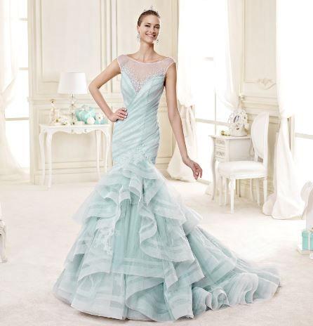 Abito da sposa a sirena con balze color verde acqua Nicole 2015