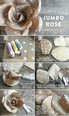 Make these DIY polka dot kraft paper flowers for your next shower or party backdrop. Pattern and tutorial included.
