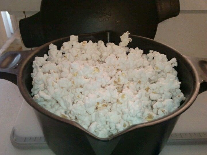 If you have a Pampered Chef micro cooker you can make microwave popcorn in minutes! Take 1/4 cup popcorn-cover loosely with lid and nuke for 1:50-2:10. Fresh crunchy and healthy! Add a splash of butter and salt for corny perfection. www.pamperedchef.biz/cmarch