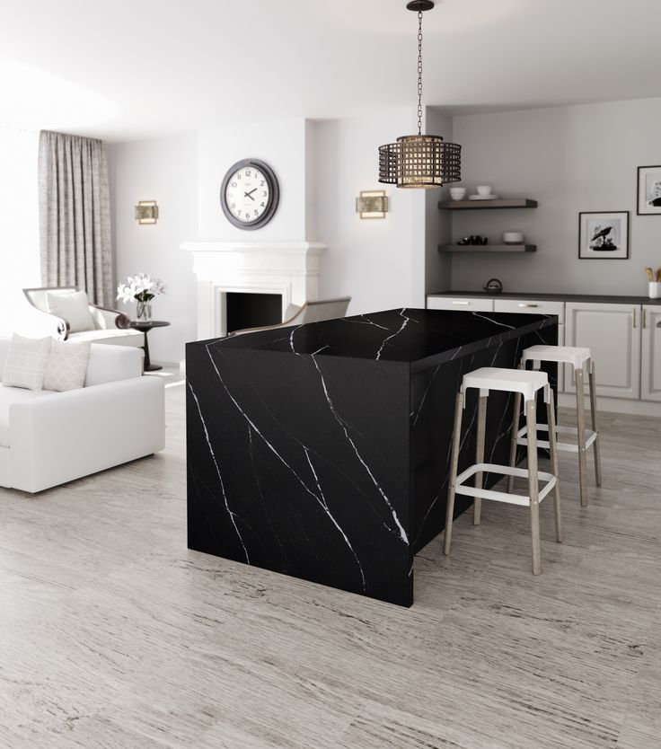 Silestone Eternal Marquina brings home the beauty of the most exclusive marbles found in nature, with all the features of our quartz surface. #interiordesign #inspiration