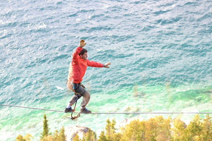 Highlining in Lion's Head Ontario Canada