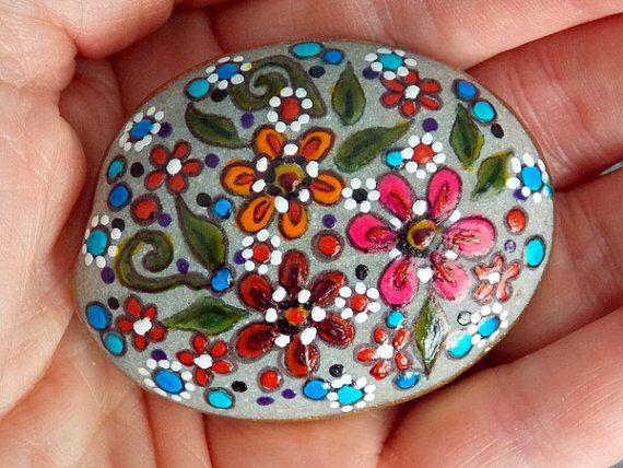 Gentle Wildflowers / Painted Rock / Sandi Pike Foundas / Sea Stone Cape Cod