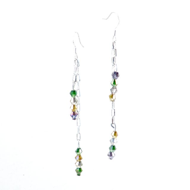 ROYAL PALACE  Beautiful Bicone Swarovski Crystals in Palace Green Opal, Light Topaz, Purple Velvet, and Black Diamond tones elegantly hung on a sterling silver small square chain. These earrings have a beautiful movement and are light as a feather. *Custom Orders Available*  CA $24.95 http://pursuademe.com/shop/?id=66