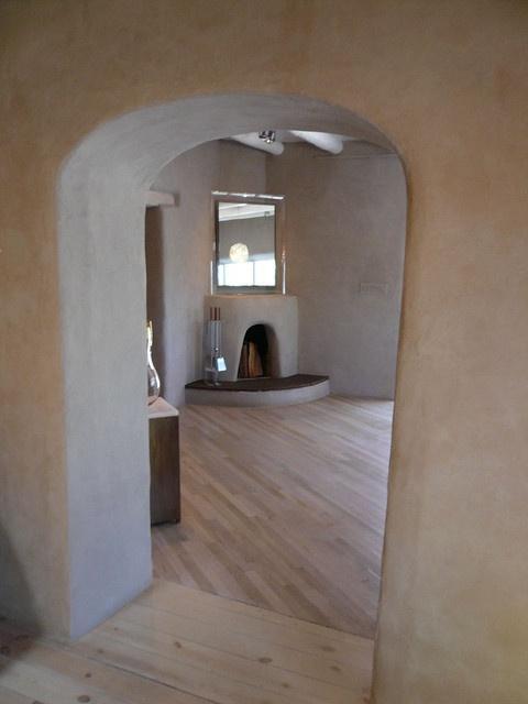Adobe home, white wood floors
