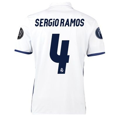 Image of Real Madrid Home UEFA Champions League Shirt 2016-17 with Sergio Ramos