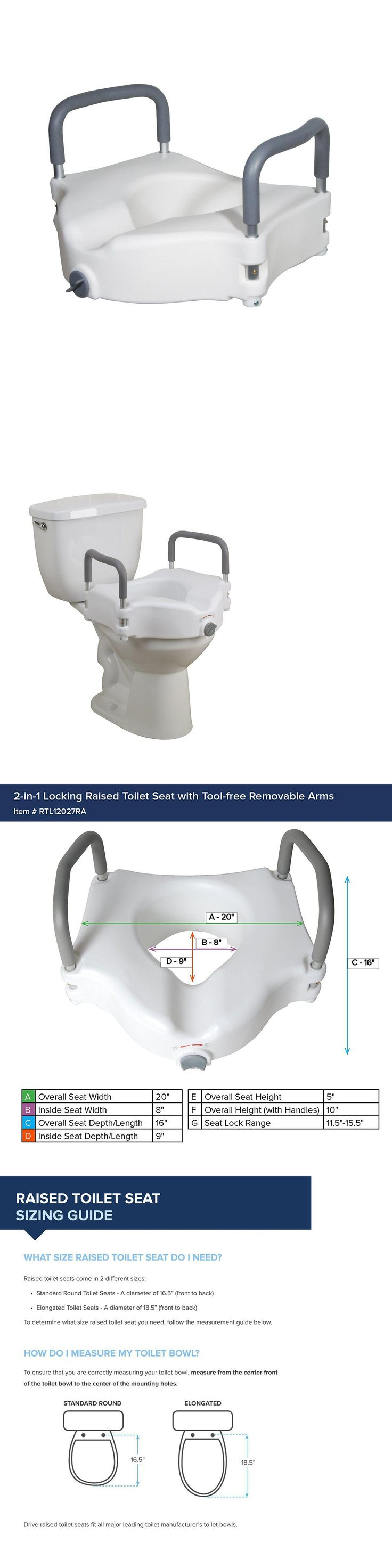 Toilet Seats: Raised Toilet Seat Portable Removable Padded Arms -> BUY IT NOW ONLY: $31.34 on eBay!