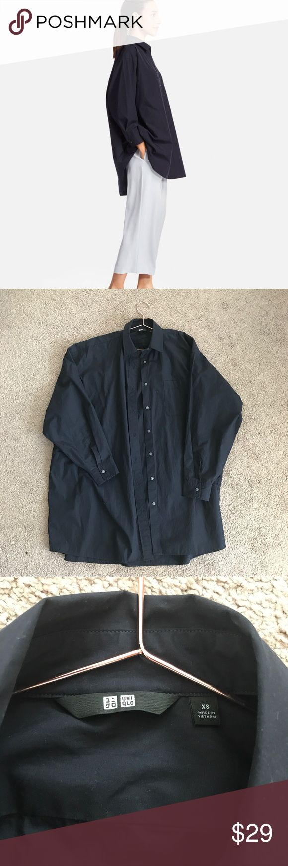 UNIQLO extra fine cotton shirt | oversised fit Dark blue Uniqlo shirt in relaxed oversized fit. Worn 2X. Length 32inch Uniqlo Tops Blouses