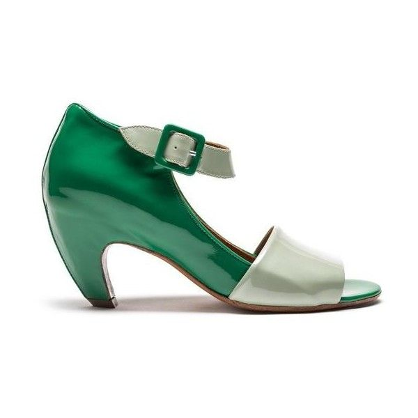Buffy Mixed Green High Heel Sandal (725 CAD) ❤ liked on Polyvore featuring shoes, sandals, green sandals, heeled sandals, green shoes, transparent shoes and mid-heel sandals