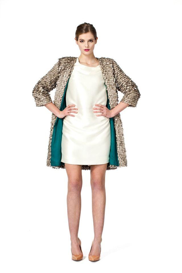 Beige leather sequin coat | Jackets and vests