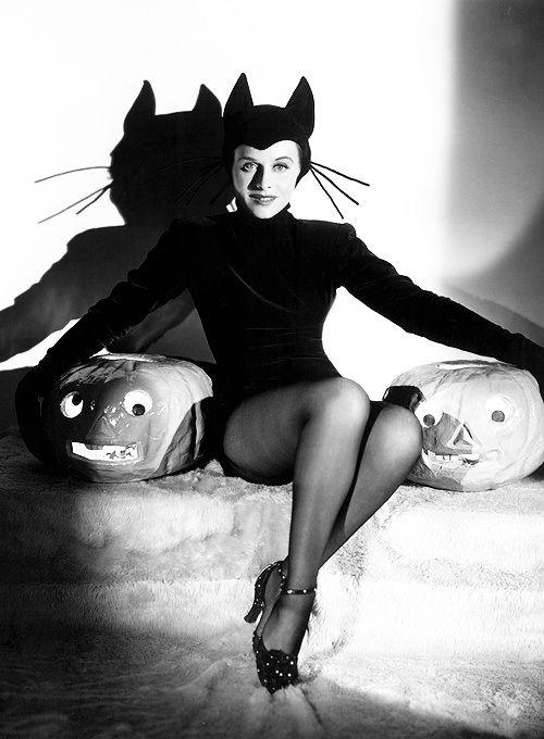 Hedy Lamar Sexy Cat Vintage Halloween Pinups
